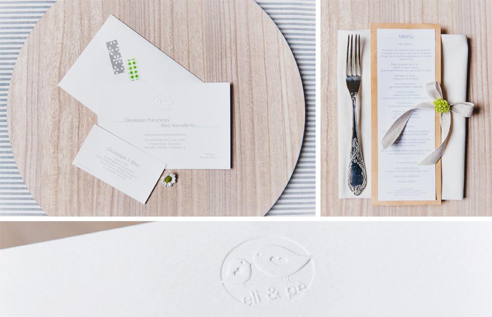 Coordinato matrimoniale e menu con timbro a secco di Youco weddi