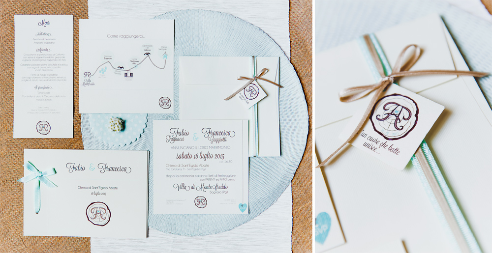 Coordinato matrimoniale color tiffany in stile country chic di Y