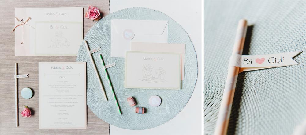 Coordinato matrimoniale in rosa pesca e verde menta di Youco wed