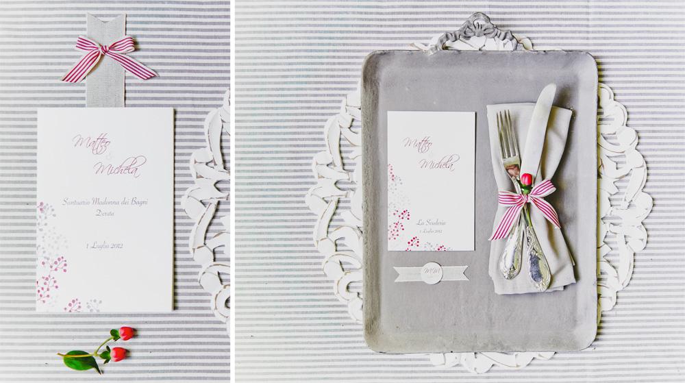 Menu banchetto matrimonio in stile moderno color rosso e tortora