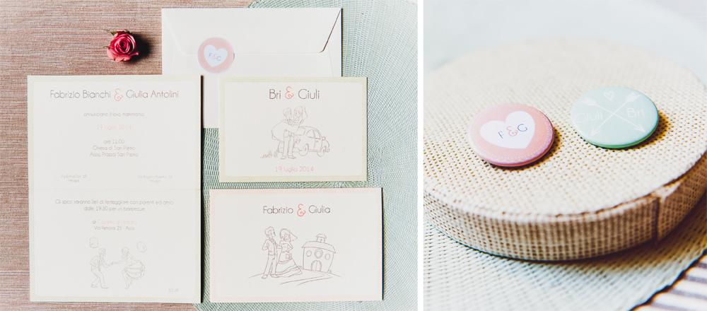 Partecipazioni matrimoniale in rosa pesca e verde menta di Youco